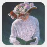 Vintage Elegant Fine Art Victorian Lady Reading Sticker