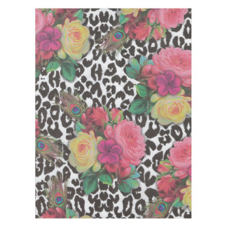 vintage elegant flowers cheetah floral Table Cloth