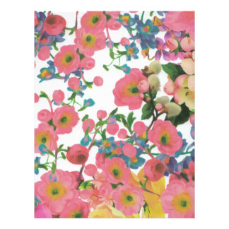 vintage elegant flowers floral theme pattern letterhead