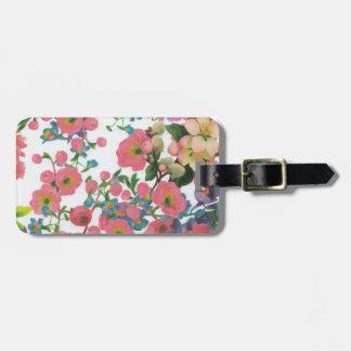 vintage elegant flowers floral theme pattern luggage tag