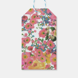 vintage elegant flowers floral theme pattern pack of gift tags