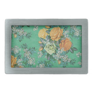 vintage elegant flowers floral theme pattern rectangular belt buckles