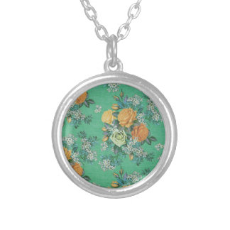 vintage elegant flowers floral theme pattern silver plated necklace