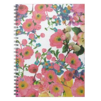 vintage elegant flowers floral theme pattern spiral notebook