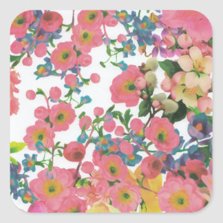 vintage elegant flowers floral theme pattern square sticker