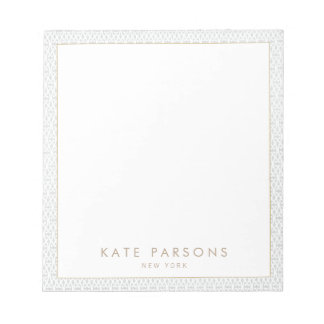 Vintage Elegant Gray Lattice Pattern Notepad