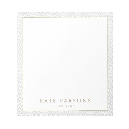Vintage Elegant Grey Lattice Pattern Notepad