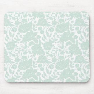 Vintage elegant pastel green white stylish floral mouse pad