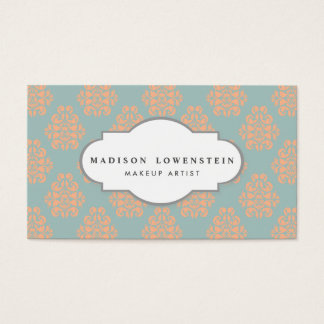 Vintage Elegant Peach Damask Pattern Teal Blue Business Card