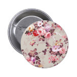 Vintage Elegant Pink Red Purple Roses Pattern 2 Inch Round Button