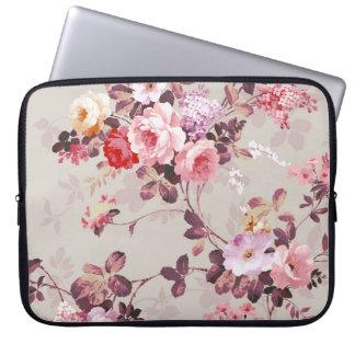 Vintage Elegant Pink Red Purple Roses Pattern Laptop Computer Sleeves