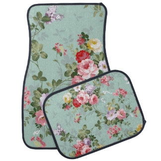 Vintage Elegant Pink Red Roses Pattern Car Mat