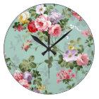 Vintage Elegant Pink Red Roses Pattern Large Clock