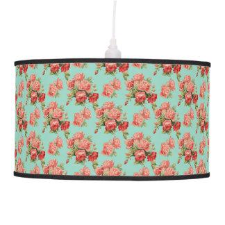 Vintage Elegant Pink Red Roses Pattern Pendant Lamp