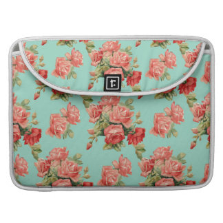 Vintage Elegant Pink Red Roses Pattern Sleeve For MacBook Pro