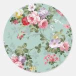 Vintage Elegant Pink Red Roses Pattern Round Stickers