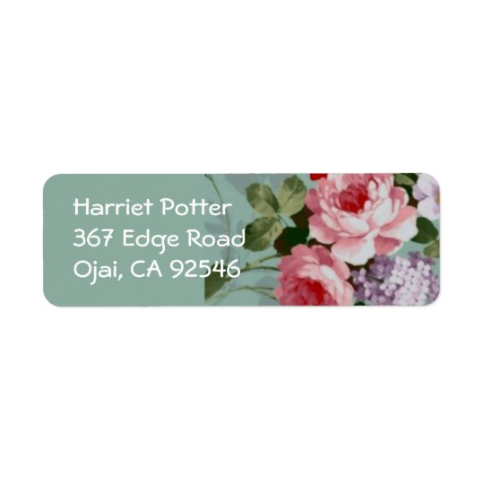 Vintage Elegant Pink Red Roses Return Address Label