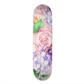 Vintage elegant pink watercolor trendy flowers skateboard decks