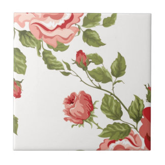 Vintage Elegant Pretty Pink Red Roses Pattern Tile