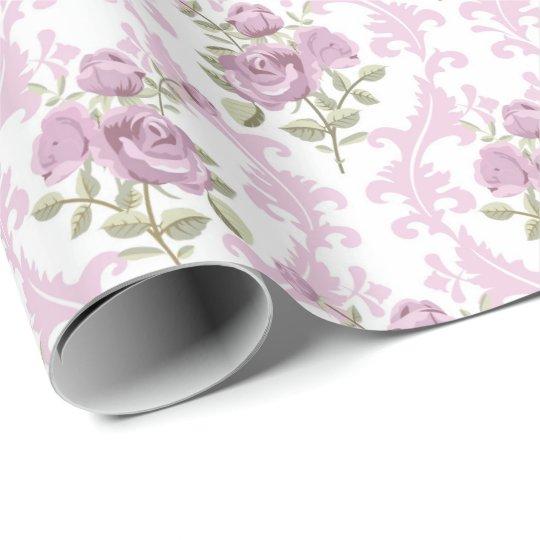 Vintage elegant purple floral pattern party wrap wrapping paper