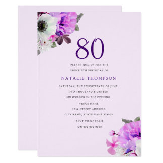 Vintage Elegant Purple Flower 80th Birthday Invite
