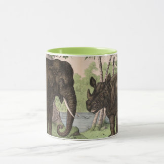 Vintage Elephant and Rhino Mug
