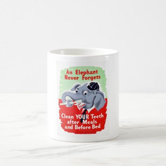 Vintage Elephant Dentist Brush your Teeth Coffee Mug