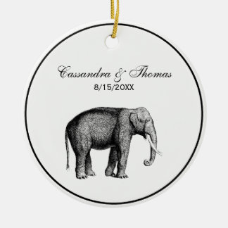 Vintage Elephant Drawing Ceramic Ornament
