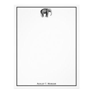 Vintage Elephant Drawing Letterhead