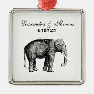 Vintage Elephant Drawing Metal Ornament