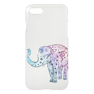Vintage elephant drawing ombre trendy clear iPhone 7 case
