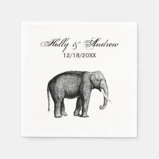 Vintage Elephant Drawing Paper Napkin
