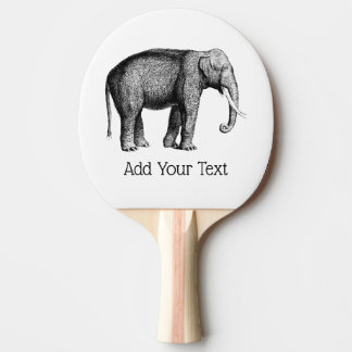 Vintage Elephant Drawing Ping Pong Paddle