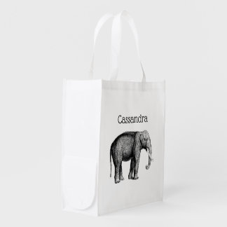 Vintage Elephant Drawing Reusable Grocery Bag