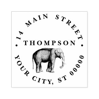 Vintage Elephant Drawing Rubber Stamp