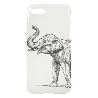 Vintage elephant drawing simple trendy clear iPhone 8/7 case