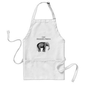 Vintage Elephant Drawing Standard Apron