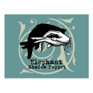 Vintage Elephant Hand Puppet Shadow Games Postcard