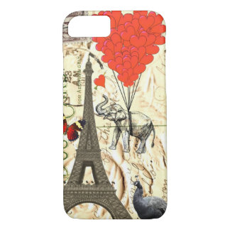 Vintage elephant & red heart balloons iPhone 8/7 case