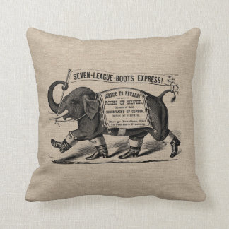 Vintage elephant Victorian ad burlap linen jute Throw Pillow