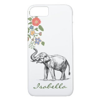 Vintage elephant your name text elephants floral iPhone 8/7 case