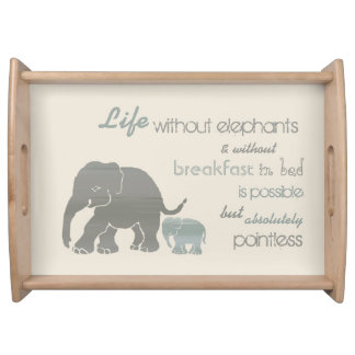 Vintage Elephants Breakfast in Bed Funny Serving Tray