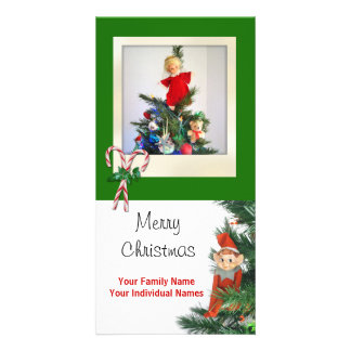 Vintage Elf Green Personalized Photo Card