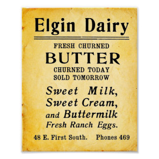 Vintage Elgin Dairy Fresh Butter Print