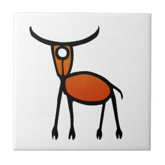 Vintage Elk Petroglyph Tile