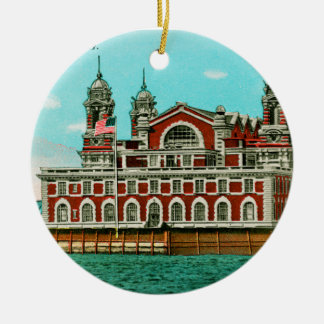 Vintage Ellis Island, New York City Round Ceramic Ornament
