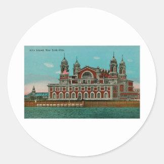Vintage Ellis Island, New York City Round Sticker