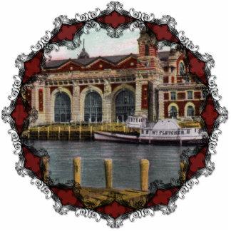Vintage Ellis Island Ornament Photo Sculpture Ornament