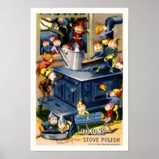 Vintage Elves & Stove Dixon's Stove Polish Ad copy Poster