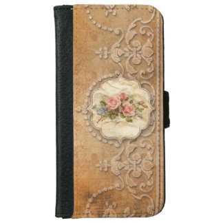 Vintage Embossed Scrollwork and Roses iPhone 6 Wallet Case